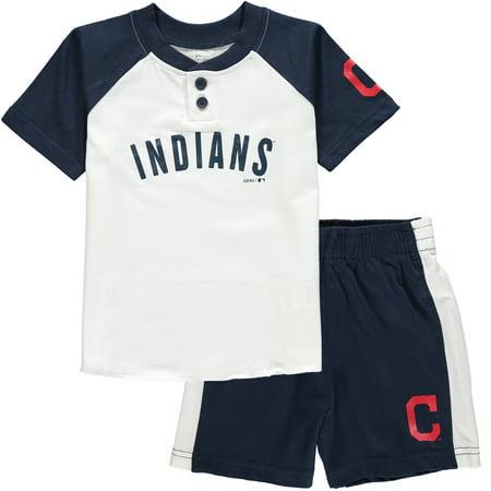 Cleveland Indians Toddler Good Hit Henley T-Shirt & Shorts Set - (Good Land Henley Shirt)