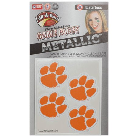 Clemson Tigers Game Faces Metallic Tattoo