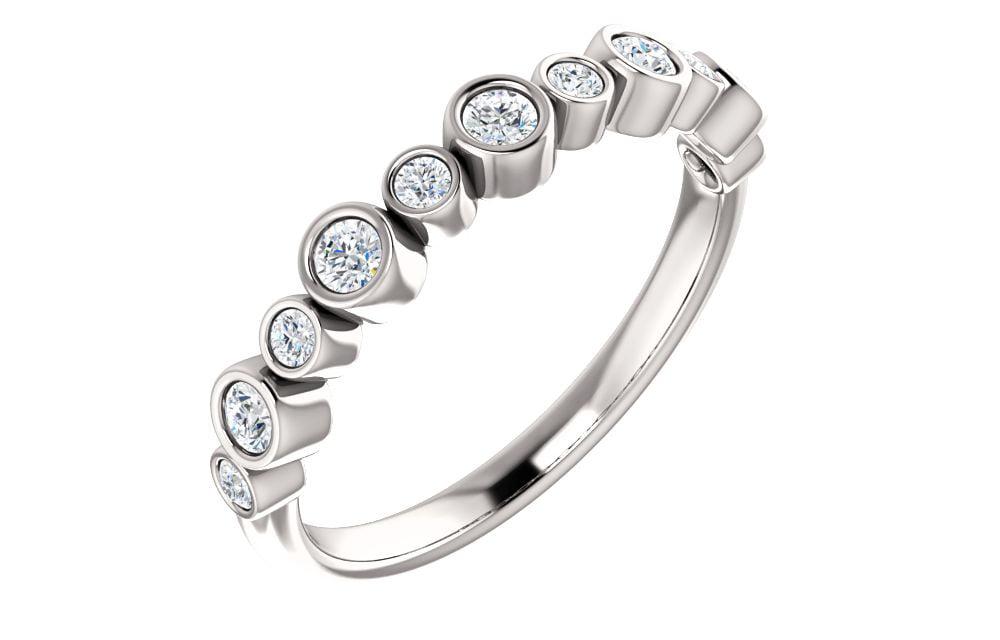 Platinum 1 3 Ct Diamond Bezel Set Right Hand Ring by