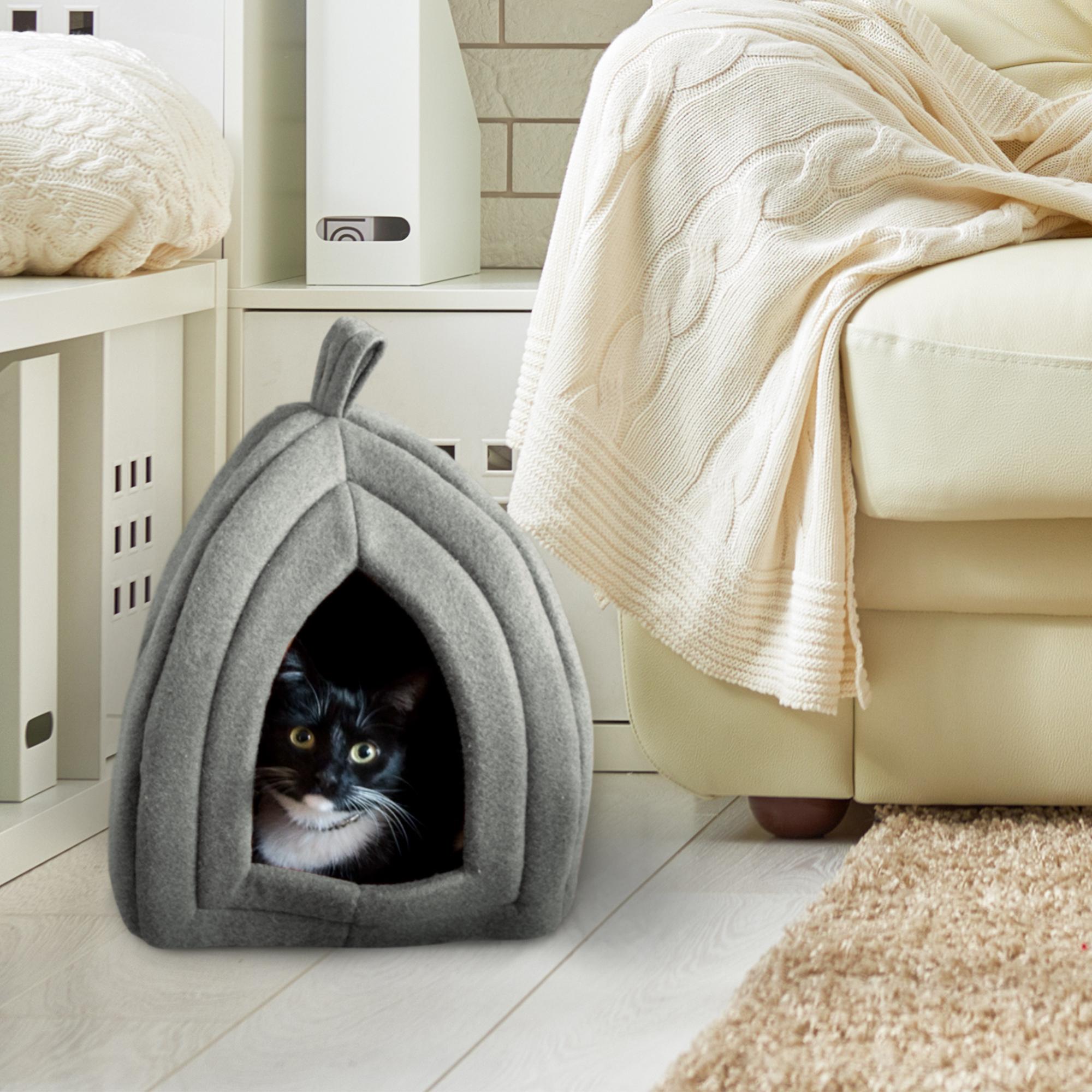 Cat Pet Bed Igloo- Soft Indoor Enclosed Covered Tent/House for Cats & Cat Pet Bed Igloo- Soft Indoor Enclosed Covered Tent/House for ...