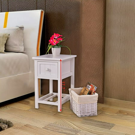 Costway Night Stand 2 Layer 1 Drawer Bedside End Table Organizer ...