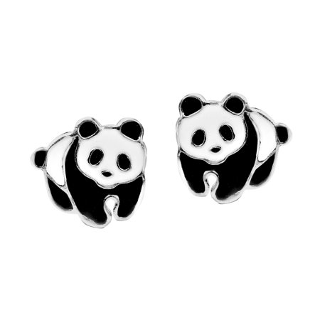 Colored Shell Earrings (Adorable Panda Bear Colored Enamel .925 Sterling Silver Stud Earrings)