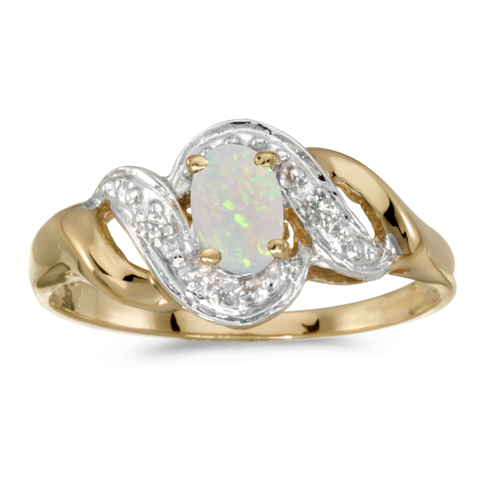10k Yellow Gold Oval Opal And Diamond Swirl Ring by