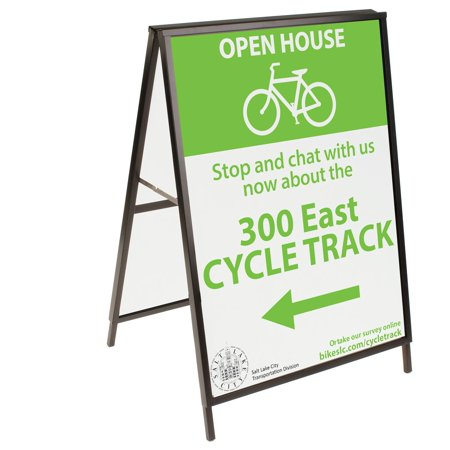 Black Finish Steel Sidewalk Sign Frame, 30-3/8 x 43 x 25-1/4-Inch, Double-Sided, A-Frame Style, For Outdoor Use (ASIGNC3040)