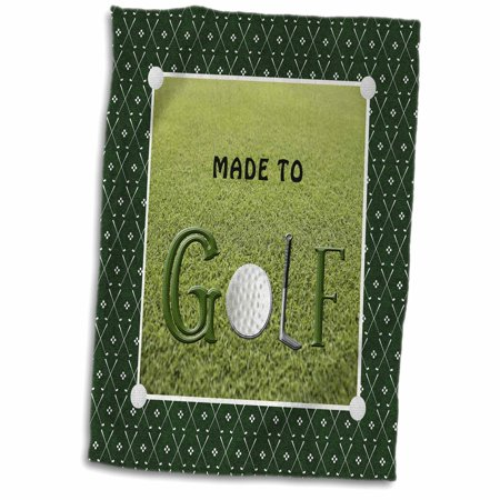 3dRose Made to Golf, Golf Ball is the O, Golf Club is the L, Grass Background - Towel, 15 by 22-inch (Tall Grass Golf)