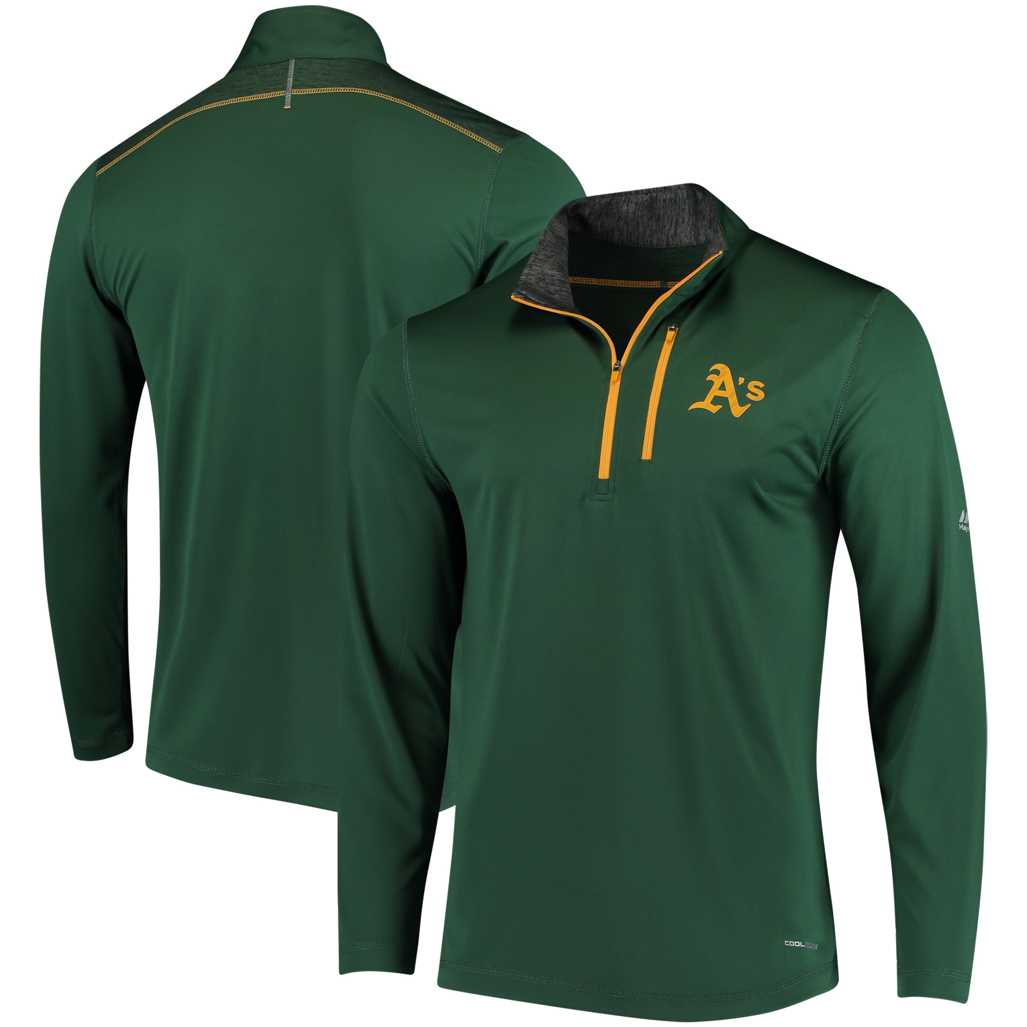 Oakland Athletics Majestic Half-Zip Pullover Top - Green