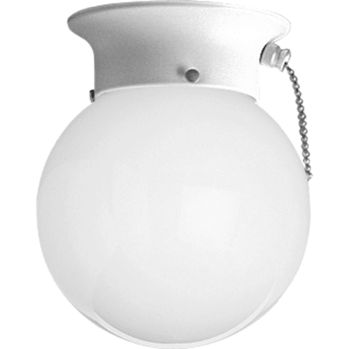 "Progress Lighting P360530SW Glass Globes Series 6"" Single-Light Flush Mount Ceiling Fixture with Pullchain Switch and White Glass Shade"