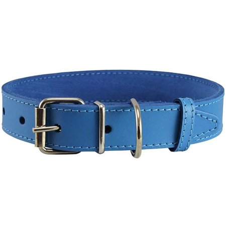 Genuine Leather Dog Collar Blue 4 Sizes (16