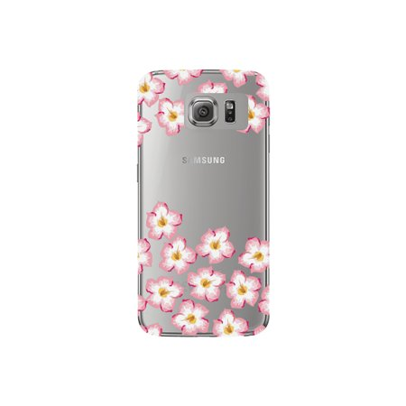 Plumeria Flower Cell Phone Charm - Pink and Yellow Plumeria Flower Cute Floral Pattern Clear Phone Case - For Samsung Galaxy S6 Edge Back Cover