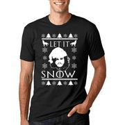 John Snow Let It Snow Santa Hat White | Mens Christmas T-Shirt
