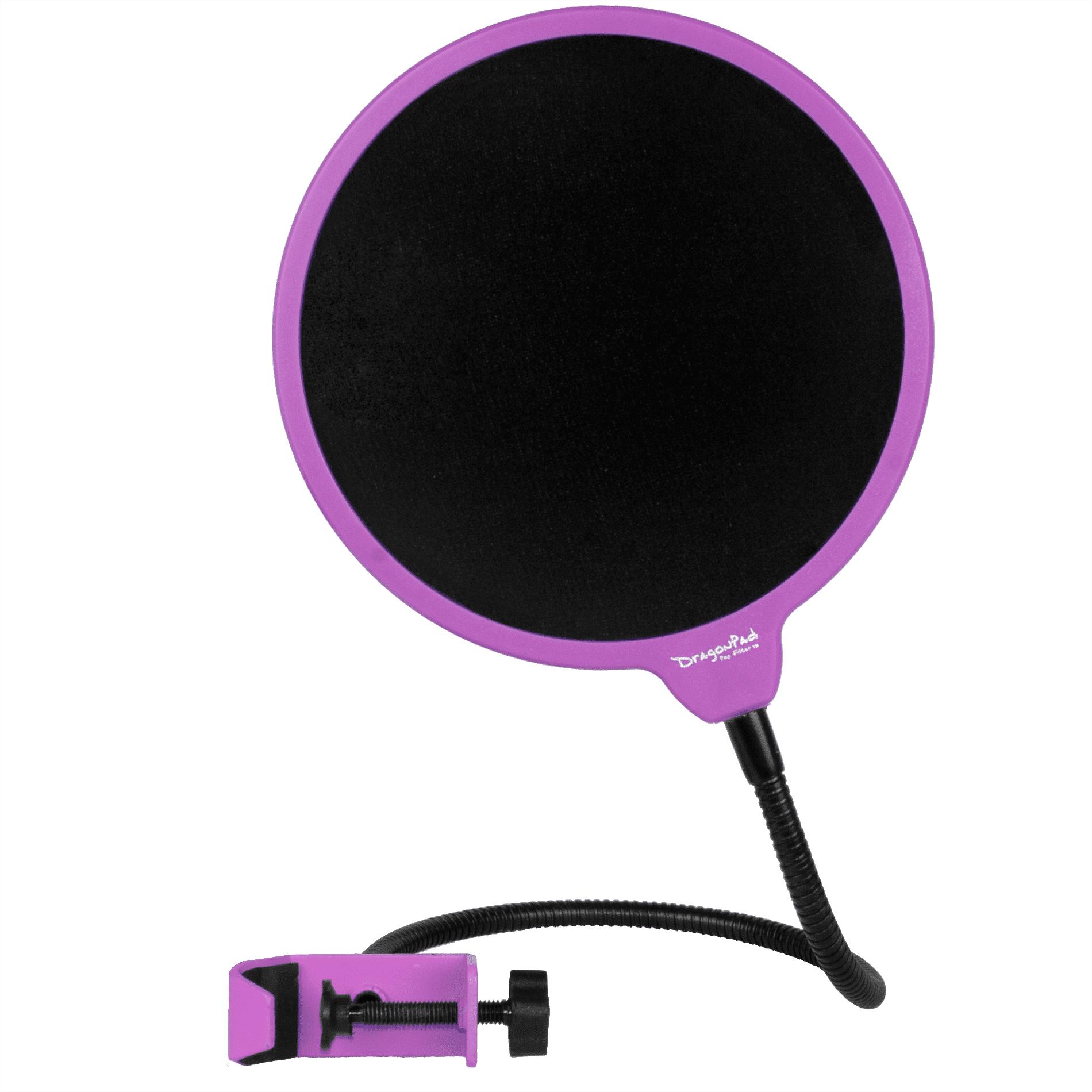 "Dragonpad USA 6"" Round Gooseneck Microphone Studio Pop Filter with Clamp - Black"