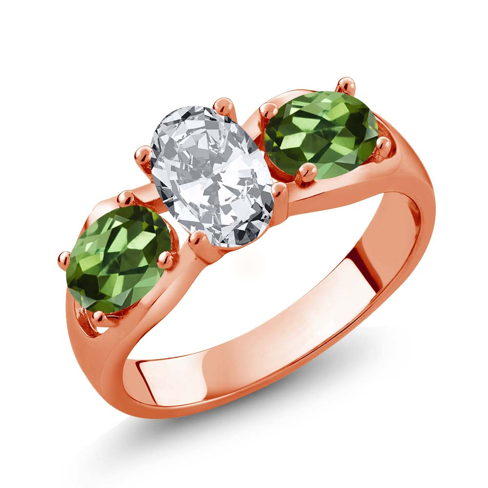 2.50 Ct Oval White Zirconia Green Tourmaline 14K Rose Gold Ring by