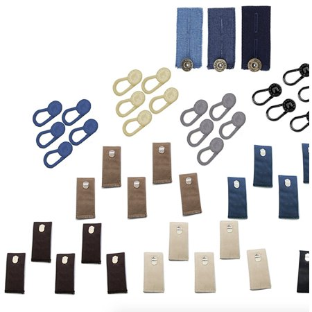 Adjustable Pant Waistband Extension Hook & Button Set with 25 Cotton Hook Extenders in 5 colors & 3 Jeans Button Extenders in 3 Washes & 25 Stretchy Elastic Button Waistband