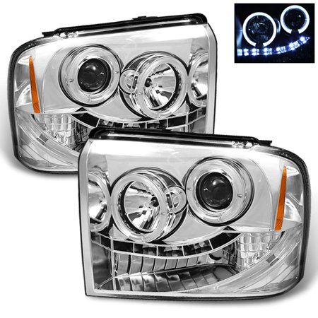Fits 05-07 Ford F250 F350 F450 Superduty Halo Projector LED Headlights Pair Set