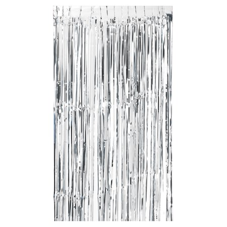 100 * 200cm Metallic Foil Fringe Curtain Tinsel Shimmer Window Door Curtain Wall Backdrop Panel Decoration for Wedding Christmas Party--Silver 3/4 Sleeve Metallic Foil