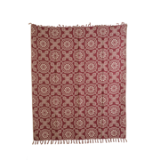 Woven Throw in Burgundy and Tan