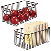 Metal Farmhouse Kitchen Pantry Food Storage Organizer Basket Bin - Wire Grid Design for Cabinets, Cupboards, Shelves, Countertops - Holds Potatoes, Onions, Fruit - 2 Pack - Bronze