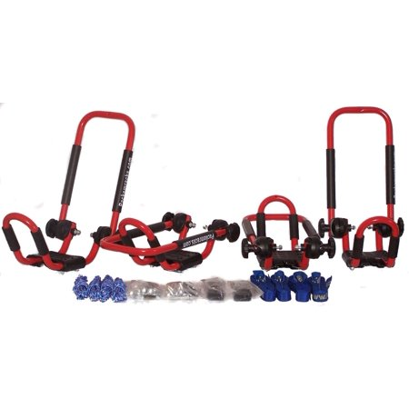 Folding J-style Kayak Rack Roof Top Rack - 2 Sets -In Many Fun Colors (Fire Engine Red) (Folding Kayak Rack)