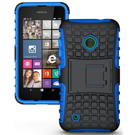 NAKEDCELLPHONE'S BLUE GRENADE GRIP RUGGED TPU SKIN HARD CASE COVER STAND FOR NOKIA LUMIA 530 (T-Mobile, Cricket, Unlocked) (Nokia Lumia 530 Cricket)