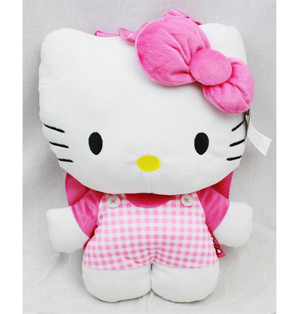 Plush Backpack - Hello Kitty - Pink Checker Pattern New Soft Doll Toys 67951