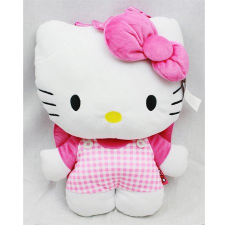 plush backpack - hello kitty - pink checker pattern new soft doll toys 67951 - Hello Kitty Backpack With Bow