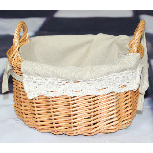Quickway Imports Small Basket with Lace Trim