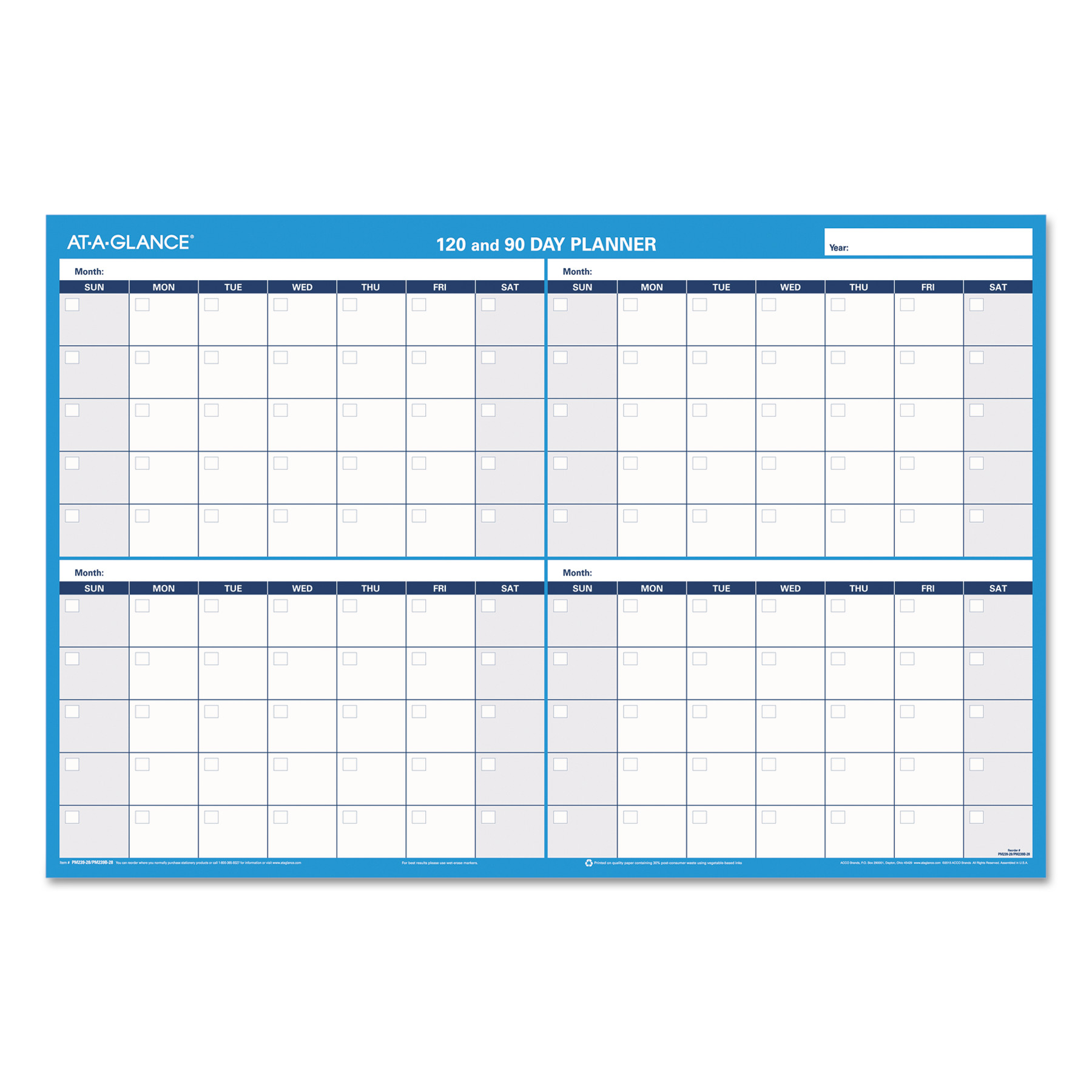 at a glance aagpm23928 90 120 day erasable wall planner 1 each