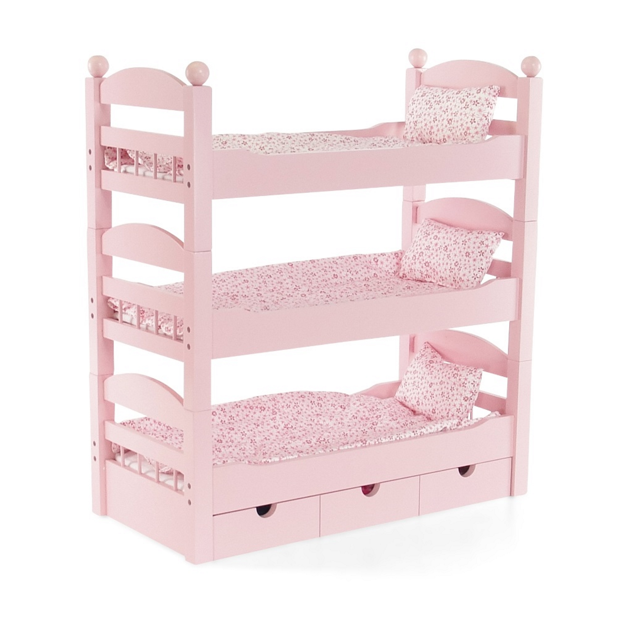 "18 Inch Doll Triple Bunk Bed - 3 Single Stackable Beds in One!  Wooden Furniture Made to Fit American Girl or Other 18"" Dolls"