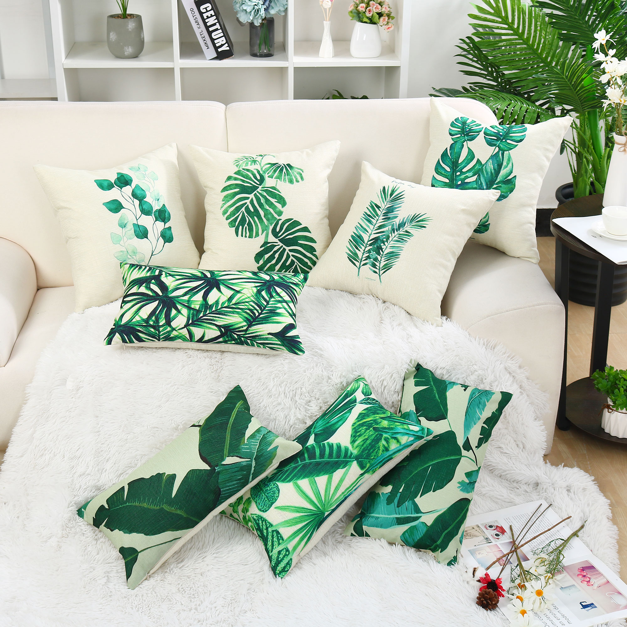 Piccocasa Home Decorative Cotton Throw Pillow Cover 12 X20 Olive Green Leaves Walmart Com Walmart Com