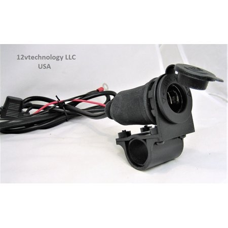 Motorcycle 12V Accessory Lighter Socket Power Outlet- Handlebar Mount Cable 60