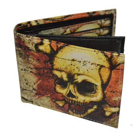 Mens Bifold Exotic Wallet Picture Skull with printed gift box.