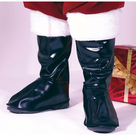 Deluxe Black Vinyl Santa Claus Boot Tops Costume Accessory - Adult Size - Santa Costume Boots