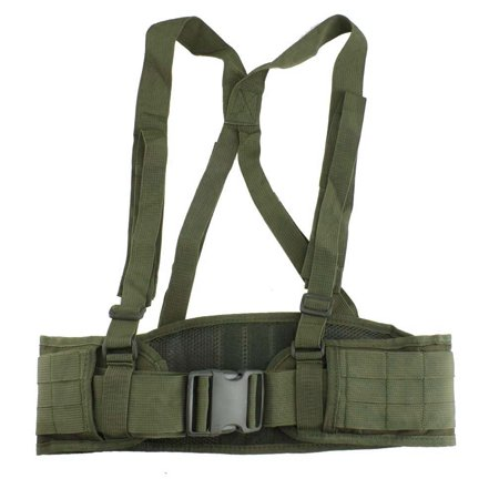 AGPtek Adjustable MOLLE Soft Padded Tactical Waist Belt with Suspender for  Outdoor Duty(Military Green)