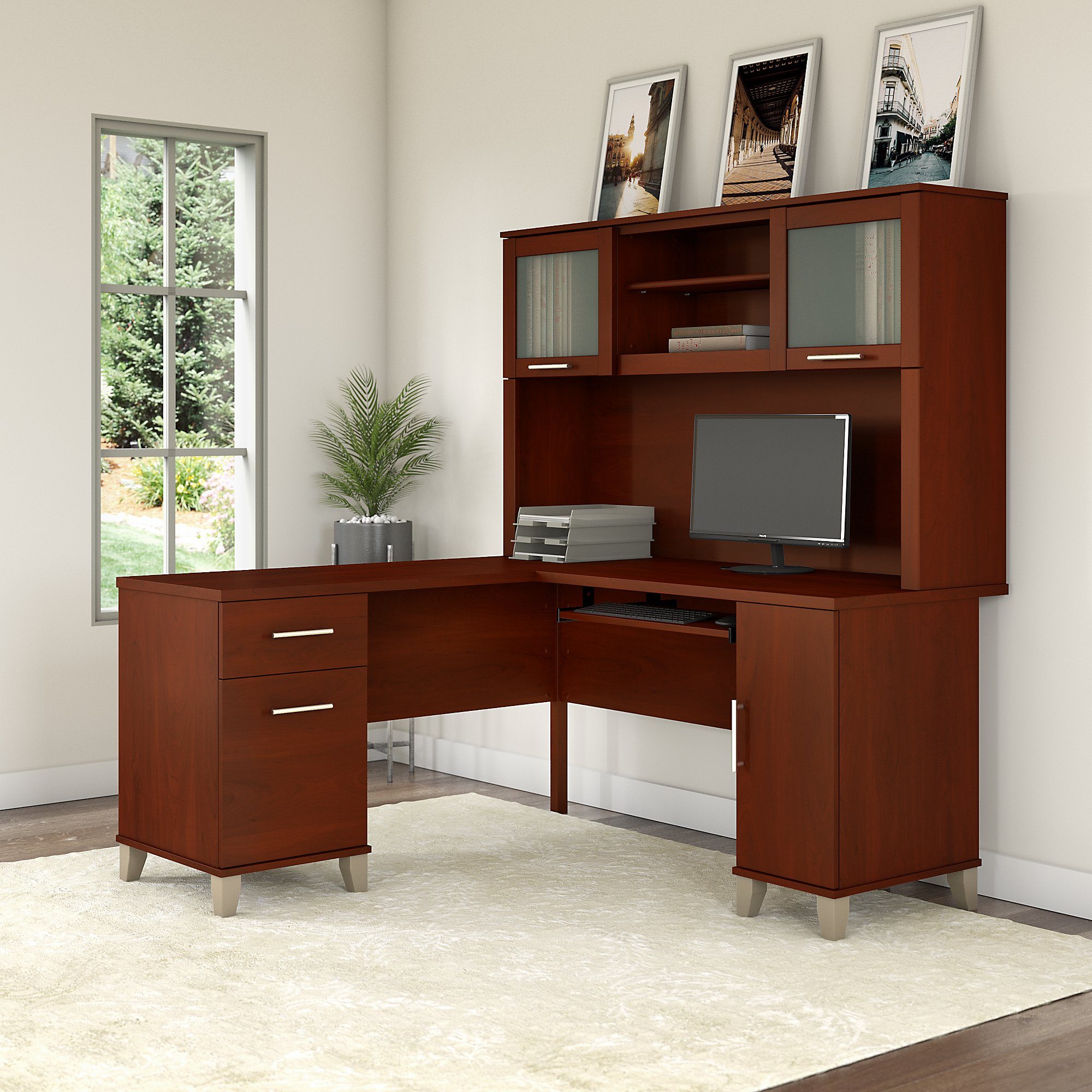 Bush Furniture Somerset 60W L Shaped Desk with Hutch in Hansen Cherry