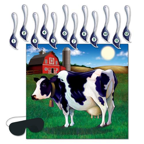 Club Pack of 24 Farm Themed Pin the Tail on the Cow Party Game