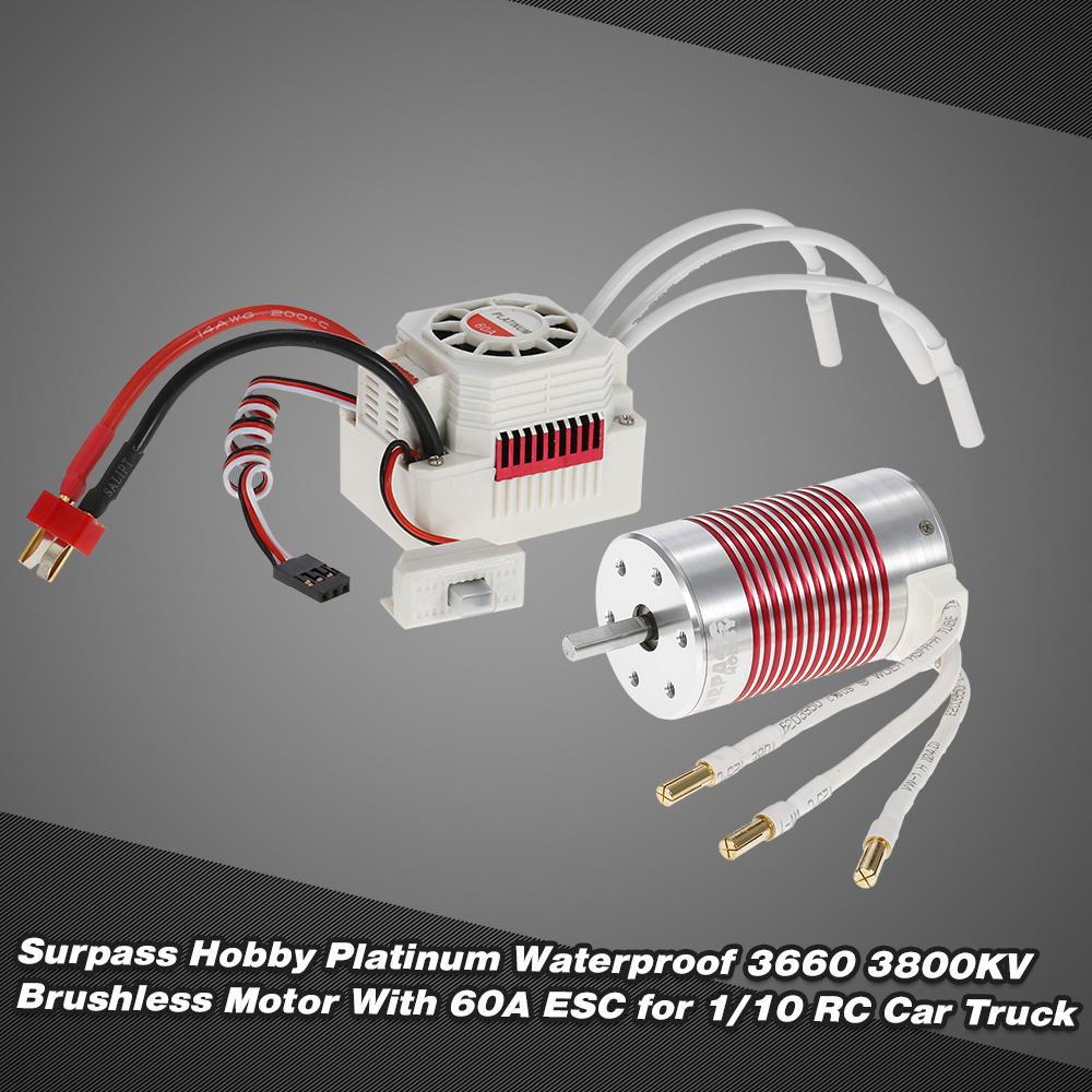 Rouge 3660 3800KV 4 P/ôles Moteur sans Balais sans Capteur RC Brushless Motor pour 1//10 RC Voiture