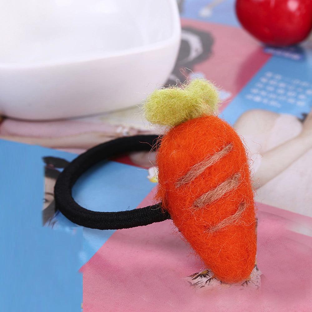 Children Girls Handmade Wool Felt Cartoon Hair Ring Hair Rope Accessories
