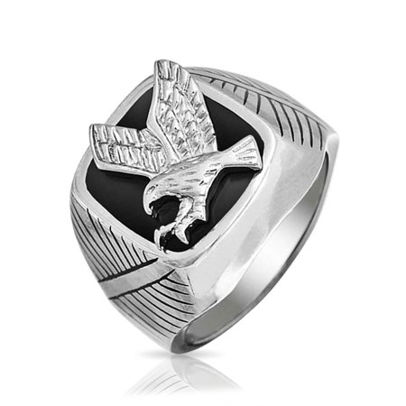 Patriotic Rings (American Flying Eagle In Front America Bald Patriotic Mens Ring Black Silver Tone Polished Finish Stainless)