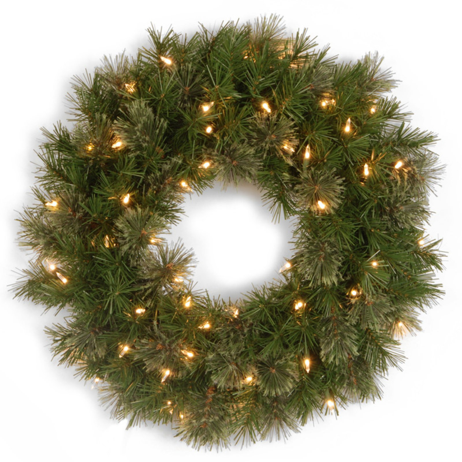 "National Tree Pre-Lit 24"" Atlanta Spruce Wreath with 50 Clear Lights"