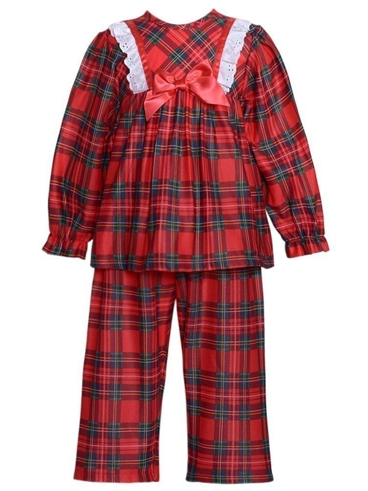 Laura Dare Little Girls Holiday Tartan Plaid Long Sleeve Pajamas