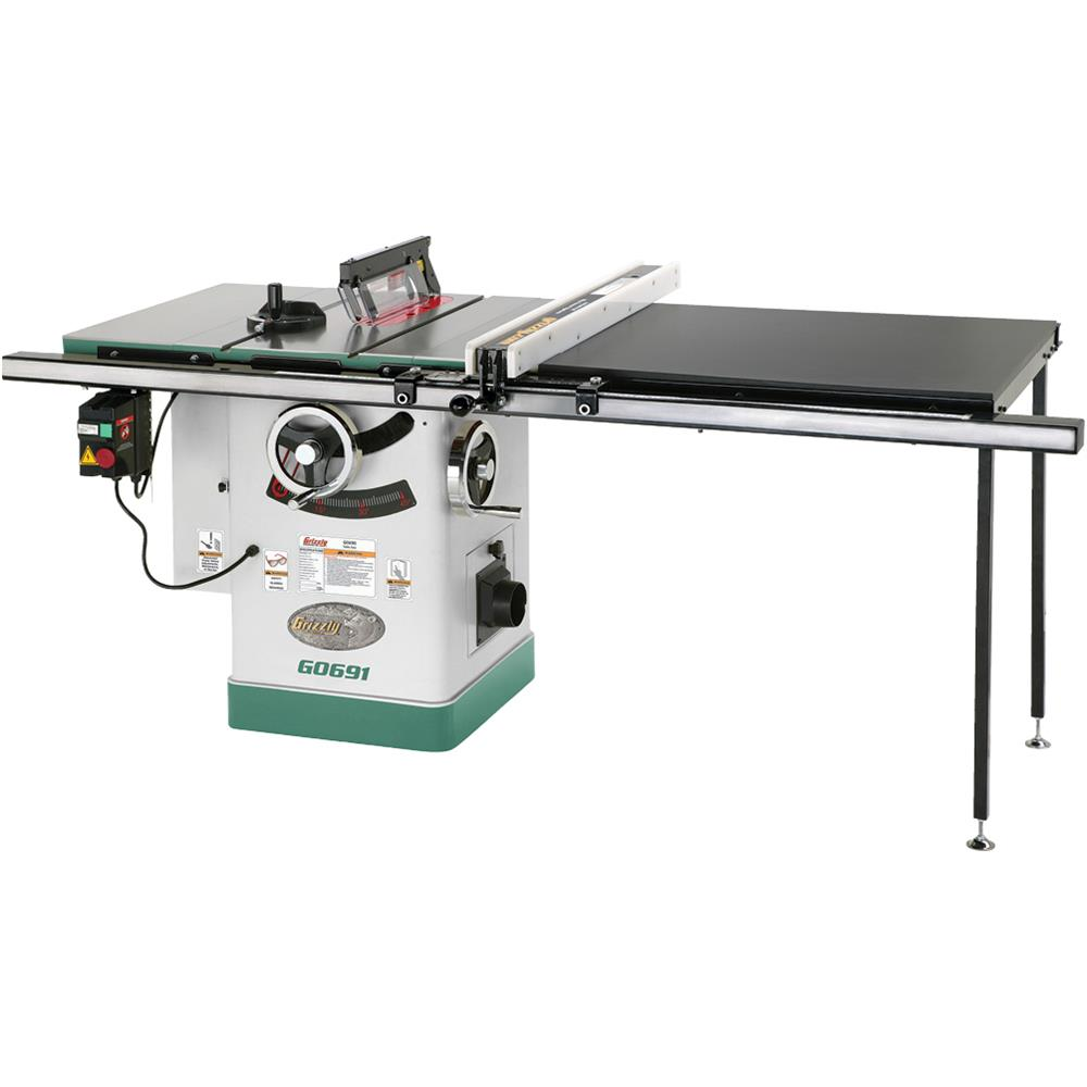 "Grizzly G0691 10"" 3HP 220V Cabinet Table Saw with Long Rails & Riving Knife by"