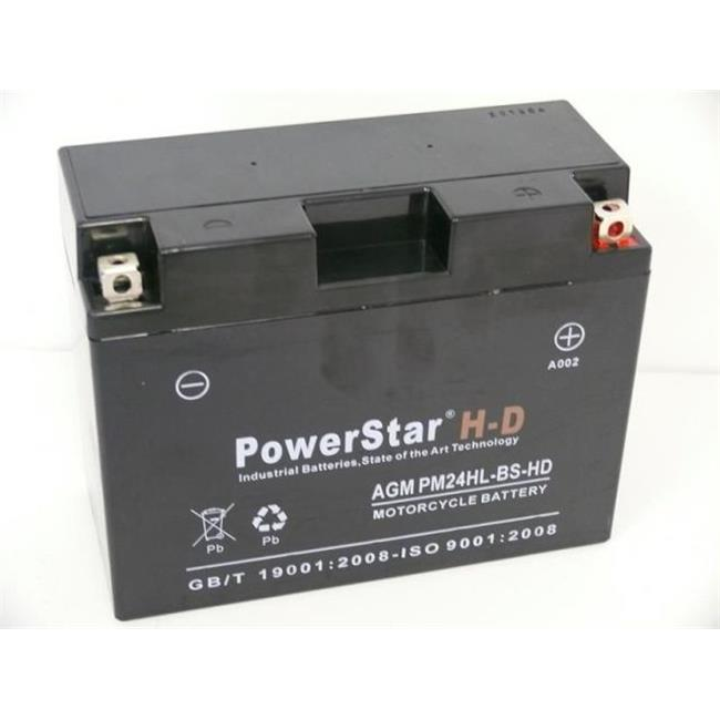 PowerStar PM-24HL-BS-H-D-45488 Harley-Davidson Ytx24Hl-Bs Battery For Kawasaki Zg1200 Voyager Xii 1200Cc 1986-2003