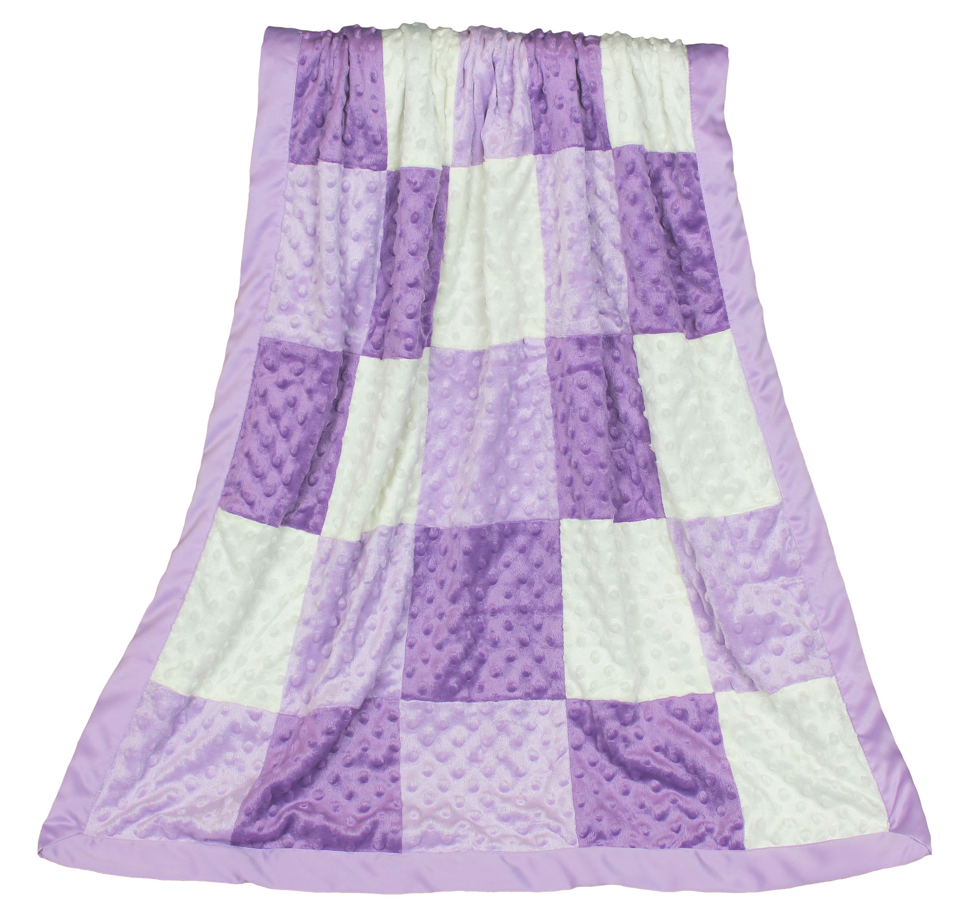 The Peanut Shell Baby Girl Blanket - Purple and Lavender Patchwork - Zoe Minky Dot Blanket