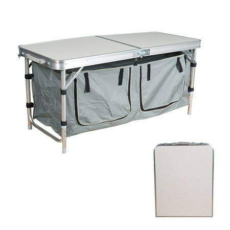 Karmas Products Portable Folding Table With 2 Storage Organizer