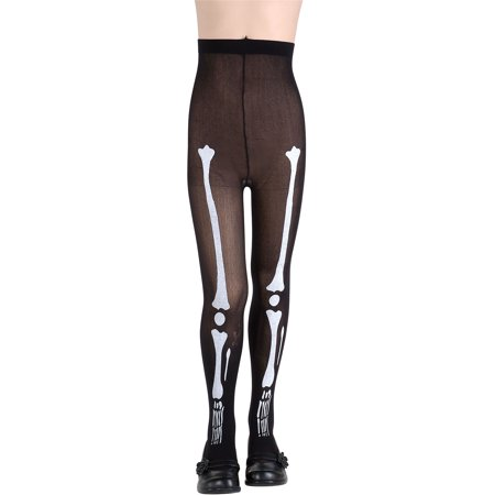 Child Black Skeleton Bone Skull Halloween Tights Pantyhose Costume Accessory](Kids Halloween Tights)