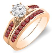 1.00 Carat (ctw) 14k Rose Gold Round Red Ruby   White Diamond Ladies Bridal Engagement Ring Set With