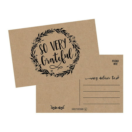 50 4x6 Rustic Kraft Thank You Postcards Bulk, Cute Matte Floral Thank You Note Card Stationery Set For Wedding, Bridesmaid, Bridal or Baby Shower, Teachers, Appreciation, Religious, Business, Holidays](Thank You Notes For Baby Shower)
