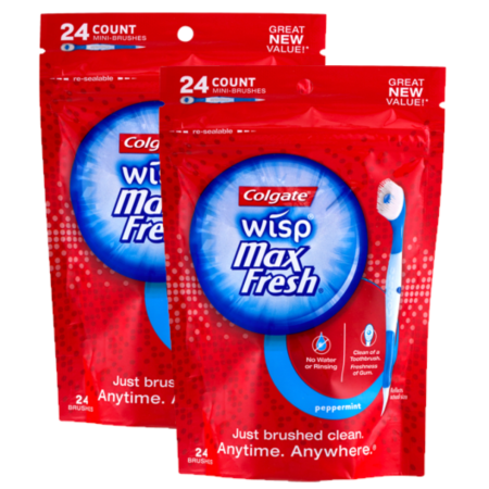 Biotene Toothbrush - (2 Pack) Colgate Max Fresh Wisp Disposable Mini Toothbrush, Peppermint - 24 Count
