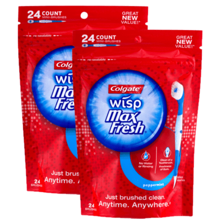 - (2 Pack) Colgate Max Fresh Wisp Disposable Mini Toothbrush, Peppermint - 24 Count