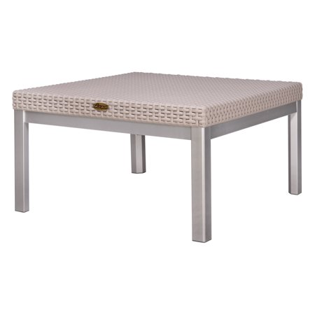 Lagoon Furniture Russ Rattan Coffee Table with Aluminum Legs-Finish:Grey